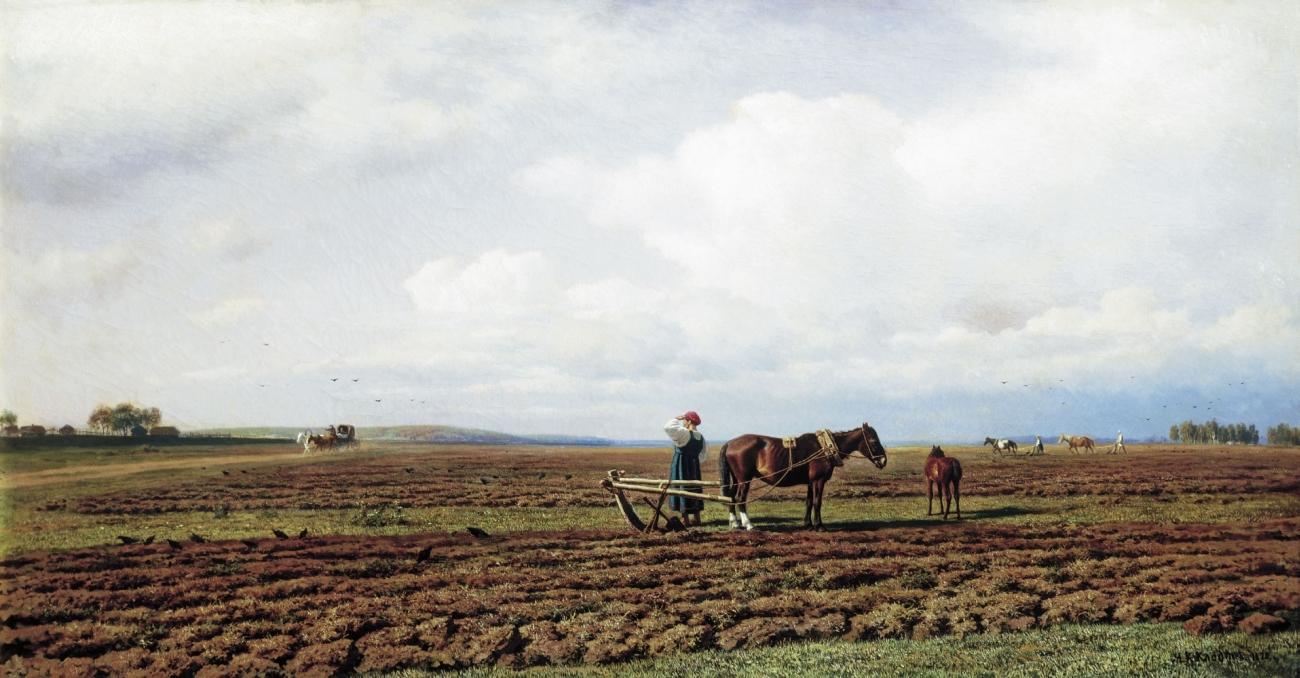 Картина На пашне художника Михаила Константиновича Клодта