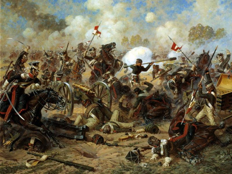 Картина художника Аверьянова Подвиг генерала Костенецкого в Бородинском бою