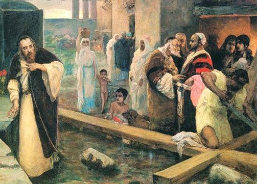 Картина художника Вильгельма Котарбинского Сооружение крест