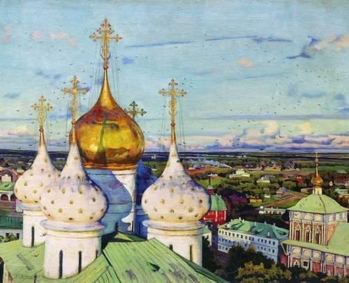 Художник К.Ф. Юон картина Купола и ласточки