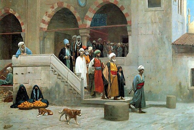 Картина художника Жерома Жана-Леона Выход из мечети