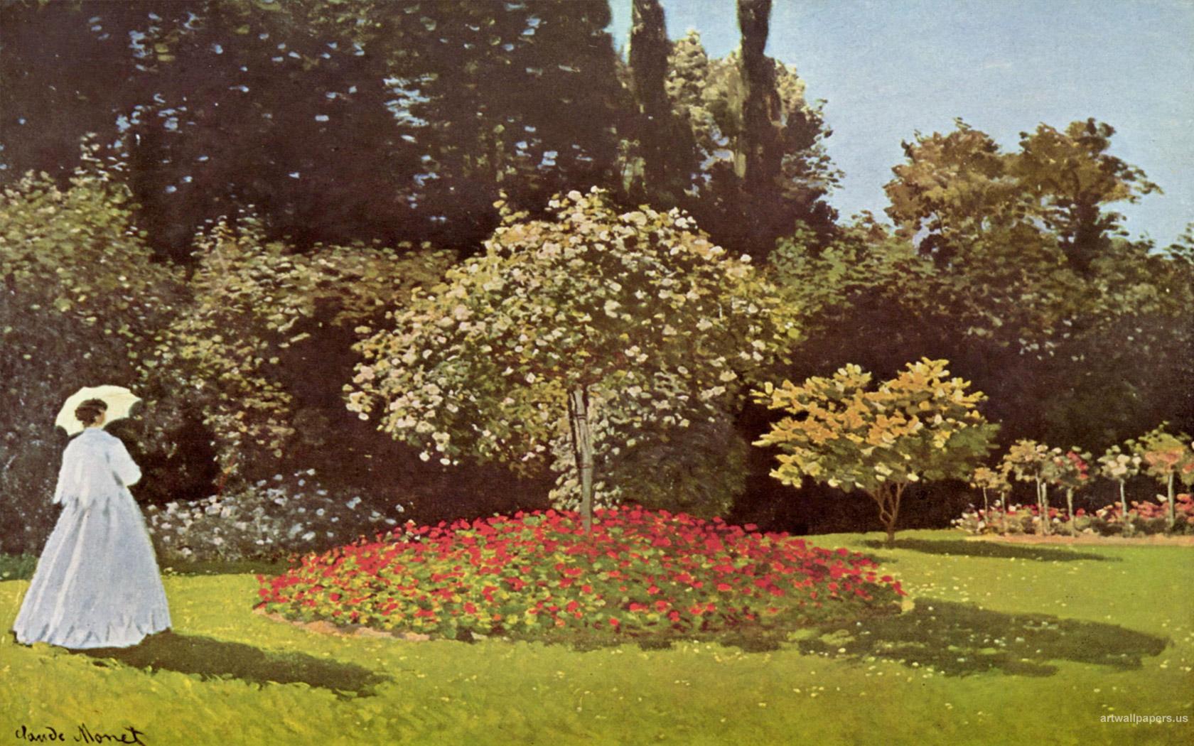 Картина Дама в саду художника Клода Моне