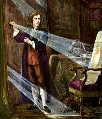 The illustrated London News гравюра Ньютон, экспериментирующий со светом