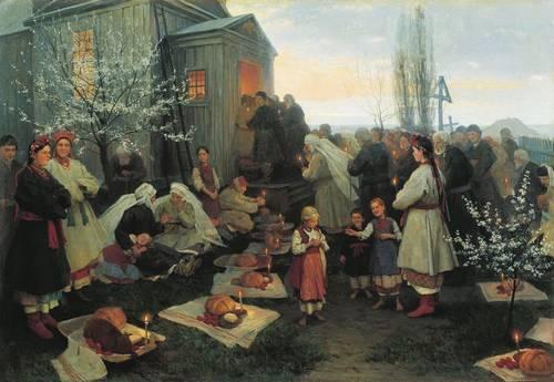 Картина художника Пимоненко Пасхальная заутреня в Малороссии