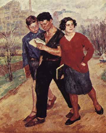 Картина советского художника Иогансона Рабфак идет