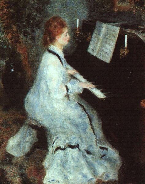 Картина художника Ренуара Девушка за пианино