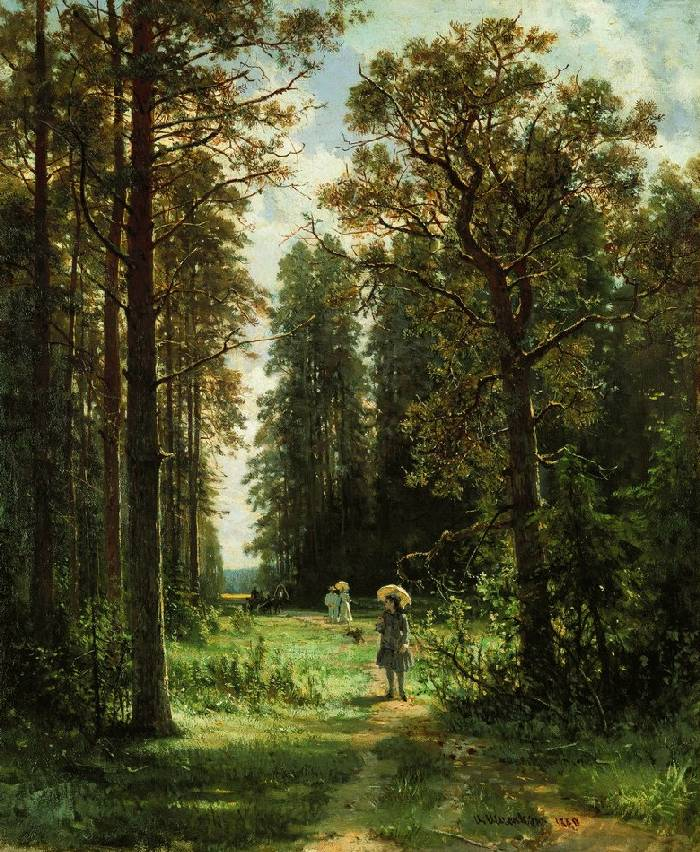 Картина художника Ивана Шишкина Дорожка в лесу