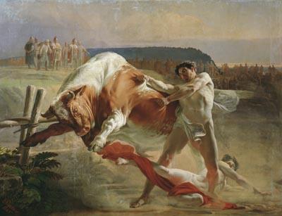 Картина художника Евграфа Сорокина Ян Усмовец, удерживающий быка