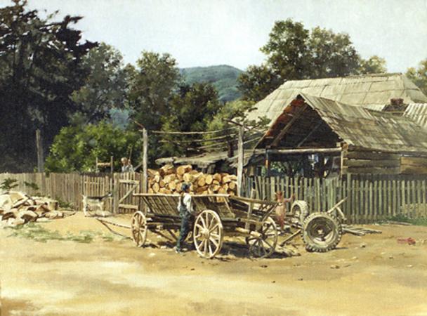 Картина художник В.В. Колесникова Старая телега