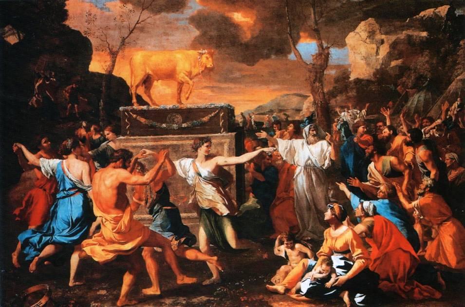 Картина французского художника Николы Пуссена Поклонение золотому тельцу
