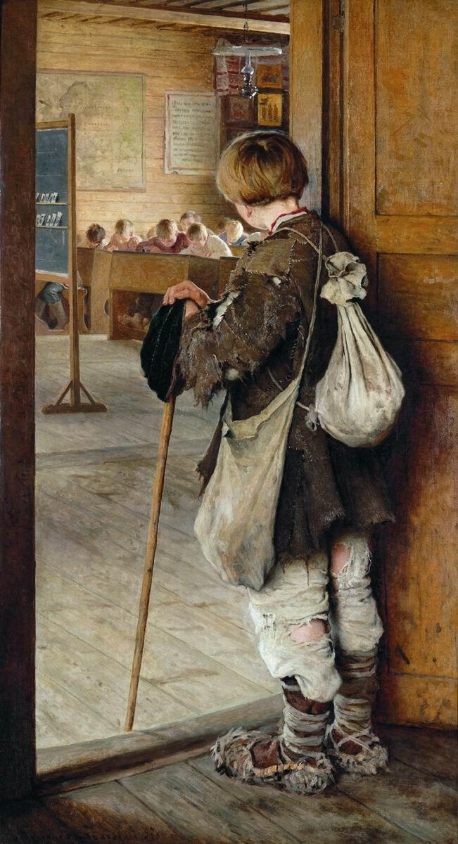 Картина Художника Николая Богданова-Бельского У дверей школы