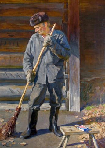 картина российского художника Чайникова Григория Леонтьевича Уборка территории