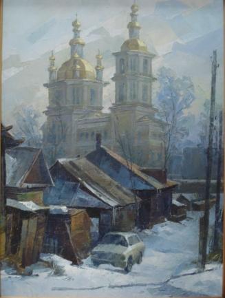 Картина современного художника из Новокузнецка Виктора Пешкова Вид на собор