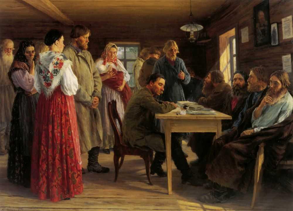 Картина художника Зощенко Михаила Ивановича Волостной суд